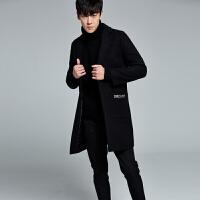 秋冬季情侣毛呢大衣中长款男装风衣妮子外套男青年韩版口袋刺绣潮 黑色