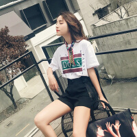 夏装新款时尚短裤套装女韩版印花短袖T恤高腰系带阔腿裤子两件套