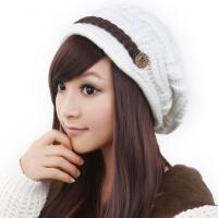 韩版潮毛线帽子女秋冬季可爱保暖黑/白/米/粉色针织帽子