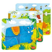 大块动物拼板儿童木制玩具1-2-3岁幼儿拼图宝宝拼图