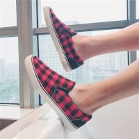夏季低帮帆布鞋一脚蹬懒人鞋男士休闲鞋韩版潮鞋套脚鞋子格子布鞋