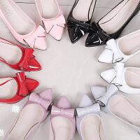 春秋季甜美蝴蝶结中跟单鞋低跟白色尖头高跟鞋粗跟职业工作鞋女鞋