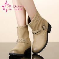 【年终狂欢】达芙妮靴子 冬季女鞋 皮带扣中跟圆头女短靴