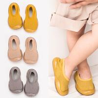 春秋婴儿学步鞋防滑不掉软底宝宝室内地板鞋子透气网面