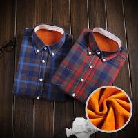 冬季新款保暖衬衫男长袖加绒加厚韩版修身休闲格子衬衣青年寸衫