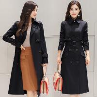 2017秋冬新款女装韩版翻领双排扣中长款风衣女士外套28802