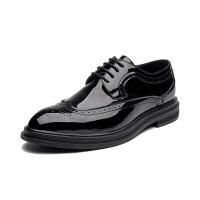 漆皮布洛克雕花男鞋新款夏季英伦风潮鞋韩版青年百搭系带休闲皮鞋 漆皮黑色