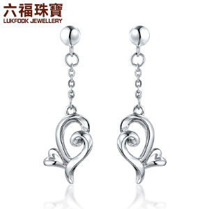 六福珠宝娉婷系列心叠Pt990铂金耳环白金耳钉女耳坠   GCP50015