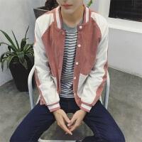 春季新款韩版拼色修身灯芯绒立领棒球衣男士夹克外套潮牌