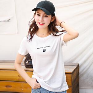 夏季新品韩版宽松百搭圆领短袖T恤字母绣花抽象图案打底衫女