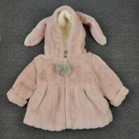 韩版秋冬装女童毛毛衣仿皮草外套宝宝加厚中长款兔耳朵夹棉袄大衣