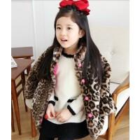 韩国童装秋冬年亲子装母女韩版女童豹纹休闲棉衣环保皮草外套