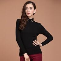 气质减龄娃娃领羊毛针织衫女秋冬新款韩版纯色套头毛衣长袖打底衫