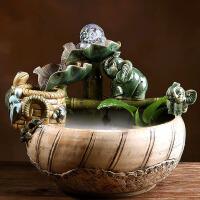 桌面田园装饰品陶瓷流水喷泉宠物饮水器盆景风水鱼缸工艺品摆件 雾化器