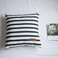 家�北�W��s�L方形抱枕套含芯全棉帆布床上沙�l靠�|套方枕�h窗腰靠枕 45*45cm 抱枕含芯