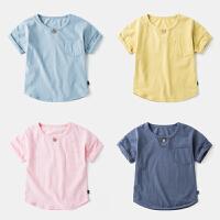 男童T恤短袖圆领婴3宝宝纯棉夏装体恤儿童打底上衣5岁小童装