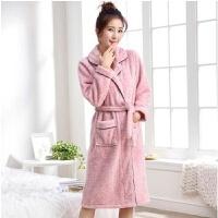 M-XXXL冬季情侣睡袍男士女士睡衣珊瑚绒加厚长款加肥孕妇浴袍外披