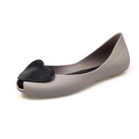 新款韩国凉鞋女夏季平底果冻鞋甜美学生沙滩百搭鱼嘴塑料女鞋鞋子 灰色 灰色+黑色爱心