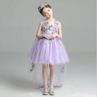 童装拖尾女童晚礼服大女孩儿童长裙连衣裙公主裙生日花仙子短裙夏 紫色