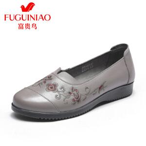 富贵鸟18年春季单鞋防滑刺绣平底妈妈鞋软底中老年奶奶鞋