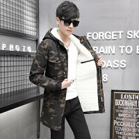 青少年中长款棉衣迷彩服男中学生冬季加绒加厚外套高中生冬装韩版夹克潮