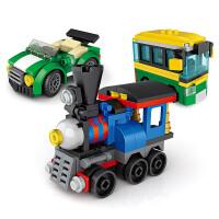 小�w粒�e木�和�玩具男孩子城市交通奇趣扭蛋拼插拼�b�e木