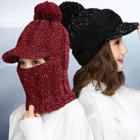 帽子围脖一体连体帽保暖针织帽女士潮可爱骑车毛线帽
