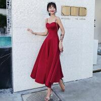 敬酒服新娘2018新款秋冬季红色订婚结婚吊带中长款晚礼服裙女显瘦