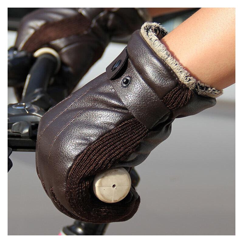 男士皮手套 男冬骑车摩托车 冬季骑行保暖防水防风加绒加厚韩版手套 优质仿皮  经久耐用 户外佳选 加绒防风
