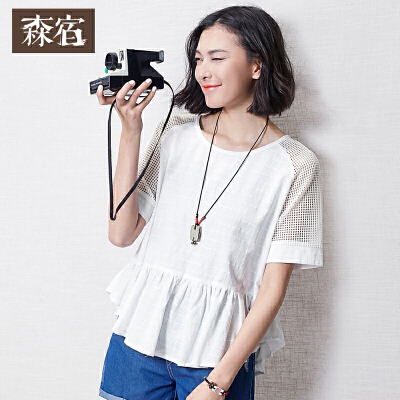 森宿夏装女衬衣清新文艺格纹宽松镂空蕾丝棉质白衬衫女短袖