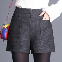 阔腿裤短裤加厚2017年冬季高腰裤子百搭英伦气质时尚修身显瘦韩版 黑色
