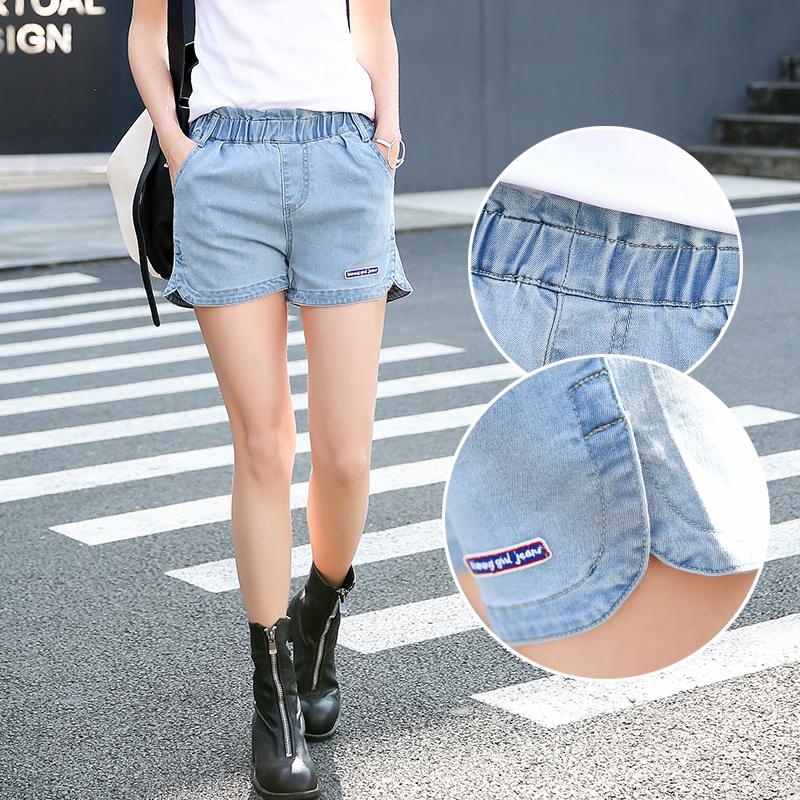 夏季新款黑白牛仔裤韩版宽松阔腿显瘦松紧腰休闲短裤女潮