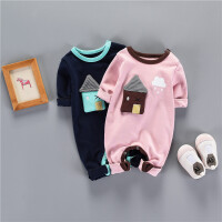 宝宝春季连体爬服新生儿长袖保暖哈衣6-12个月婴儿外出抱衣潮