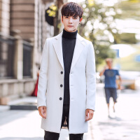 秋冬新品�n版男式毛呢大衣中�L款呢子外套潮男�b�L衣一件