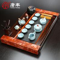 唐丰黑檀木花梨木石头茶盘套装家用简约现代喝茶中式整套功夫茶具