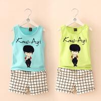 夏装韩版新款时尚男孩男童童装 宝宝儿童背心短裤套装