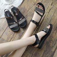 妈妈鞋凉鞋夏季平底女鞋中年中老年坡跟女士百搭厚底中跟新款