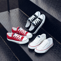 儿童帆布鞋男童女童鞋子低帮宝宝白色儿童布鞋系带休闲板鞋亲子鞋