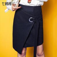 七格格2017秋装新款高腰黑色短裙不规则纯色圆环A字半身裙女