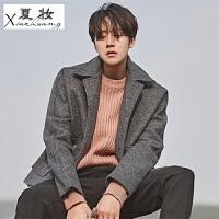 夏妆男士外套冬季2018新款毛呢大衣男韩版短款个性潮男英伦风羊绒夹克