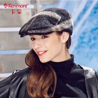 卡蒙冬季帽子女毛呢贝雷帽女士帽子冬天时尚英伦复古鸭舌帽前进帽2402