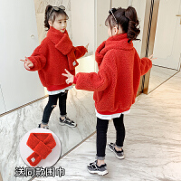 童装女童卫衣加绒羊羔绒冬季保暖上衣洋气大童冬