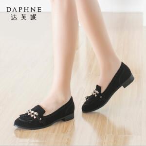 Daphne/达芙妮正品女鞋 秋季粗跟流苏绒面金属装饰深口时尚单鞋