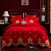 婚庆床上用品四件套绣花棉大红刺绣结婚新婚六件套棉床品