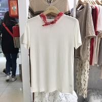 韩国ulzzang2018春装新款简约百搭圆领短袖T恤衫女时尚糖果色上衣