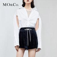 MOCO夏季新品纯棉镂空长袖性感翻领衬衫MA182SHT103 摩安珂
