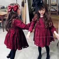 亲子装韩国童装冬春款韩版女蕾丝加绒公主裙连衣裙连身裙母女装