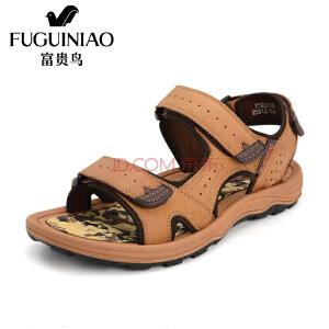 富贵鸟(FUGUINIAO)男凉鞋 夏季新品磨砂沙滩鞋透气魔术贴凉鞋男