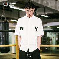 viishow夏装新款短袖衬衫 欧美街头短袖衬衣男 字母白衬衫潮