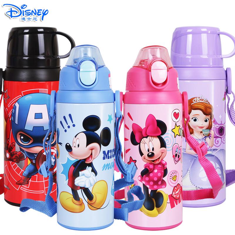 迪士尼儿童500ML可互换杯盖两用不锈钢保温吸管杯直饮杯HM3208